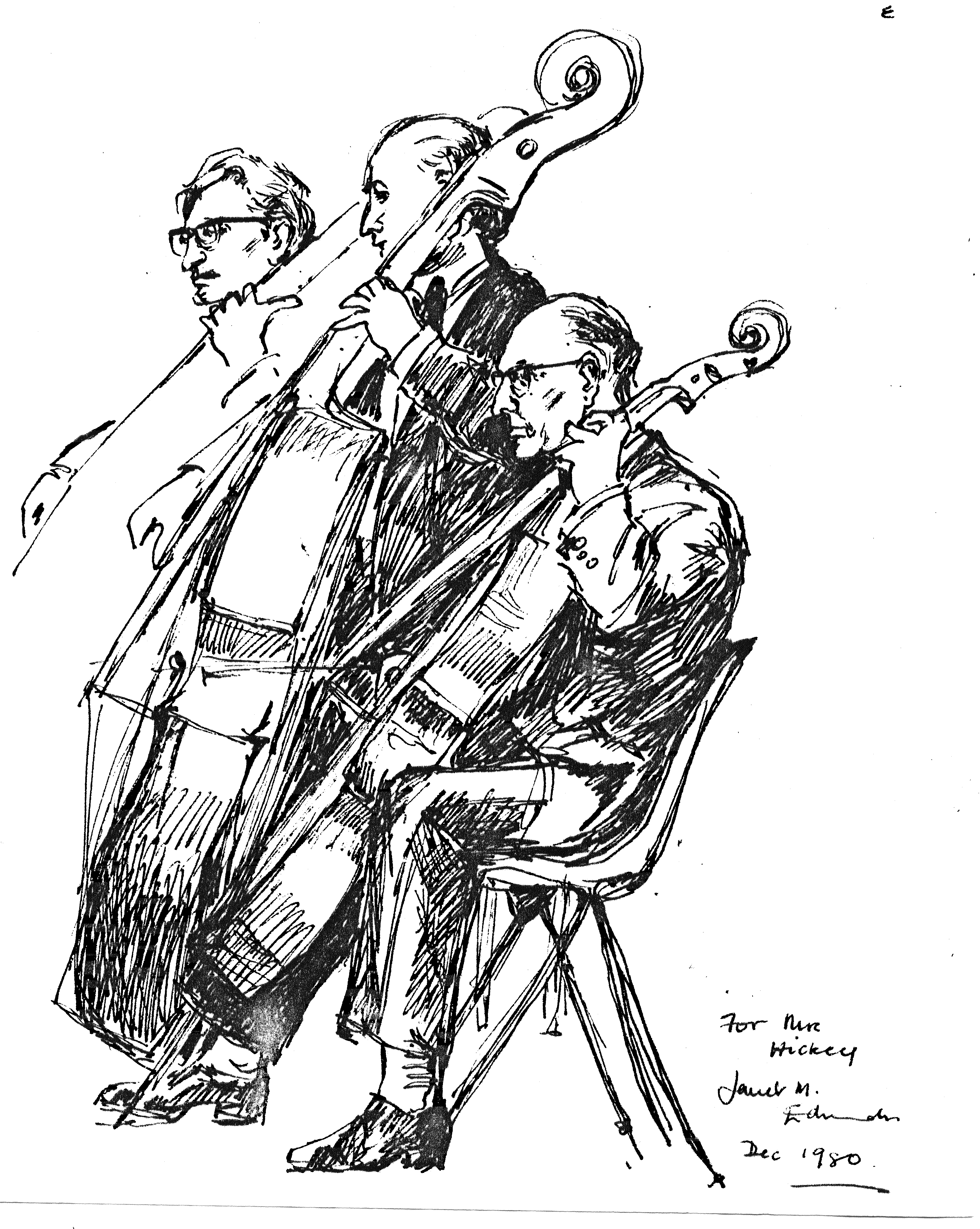 Drawing of Some Lower Strings by Audience Member